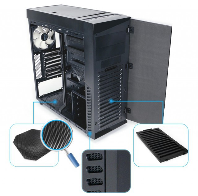 Корпус Zalman R1 Black (Miditower, ATX, Window, USB3, 3xFan)