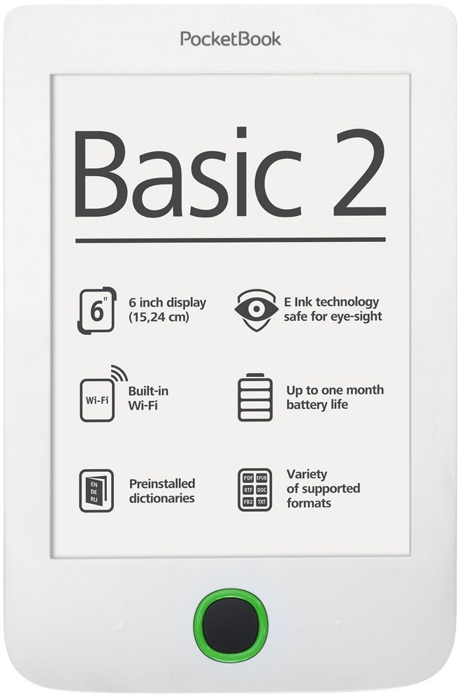 "Электронная книга PocketBook Basic 2 614 (PB614-D-CIS) White (6"", E-Ink, 600x800, 4Gb, microSD, USB 2.0)"