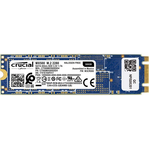 Жёсткий диск SSD 500Gb Crucial MX500 (CT500MX500SSD4) (SATA-6Gb/s, M.2, 560/510Mb/s)
