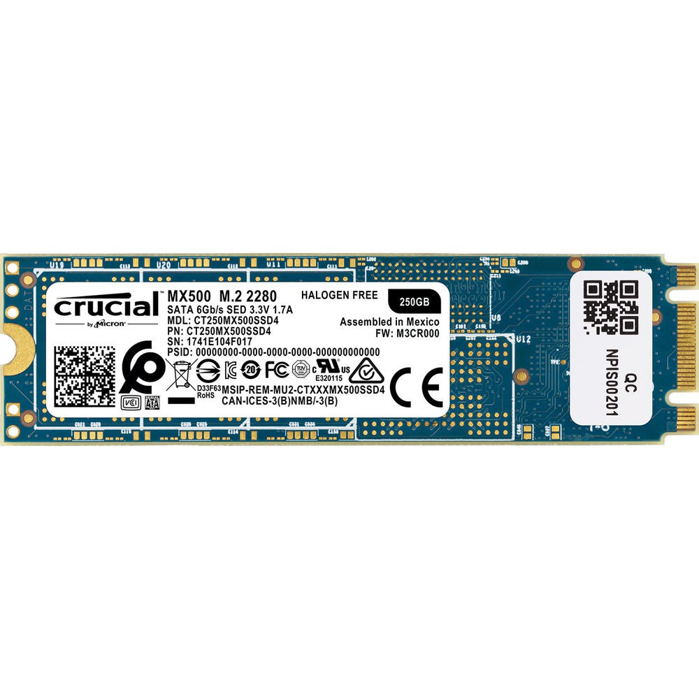 Жесткий диск SSD 250Gb Crucial MX500 (CT250MX500SSD4) (SATA-6Gb/s, M.2, 560/510Mb/s)
