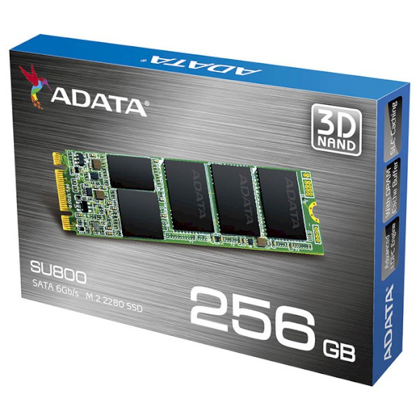 Жесткий диск SSD 256Gb A-Data Ultimate SU800 (ASU800NS38-256GT-C) (M.2 SATA, M.2, 560/520Mb/s)