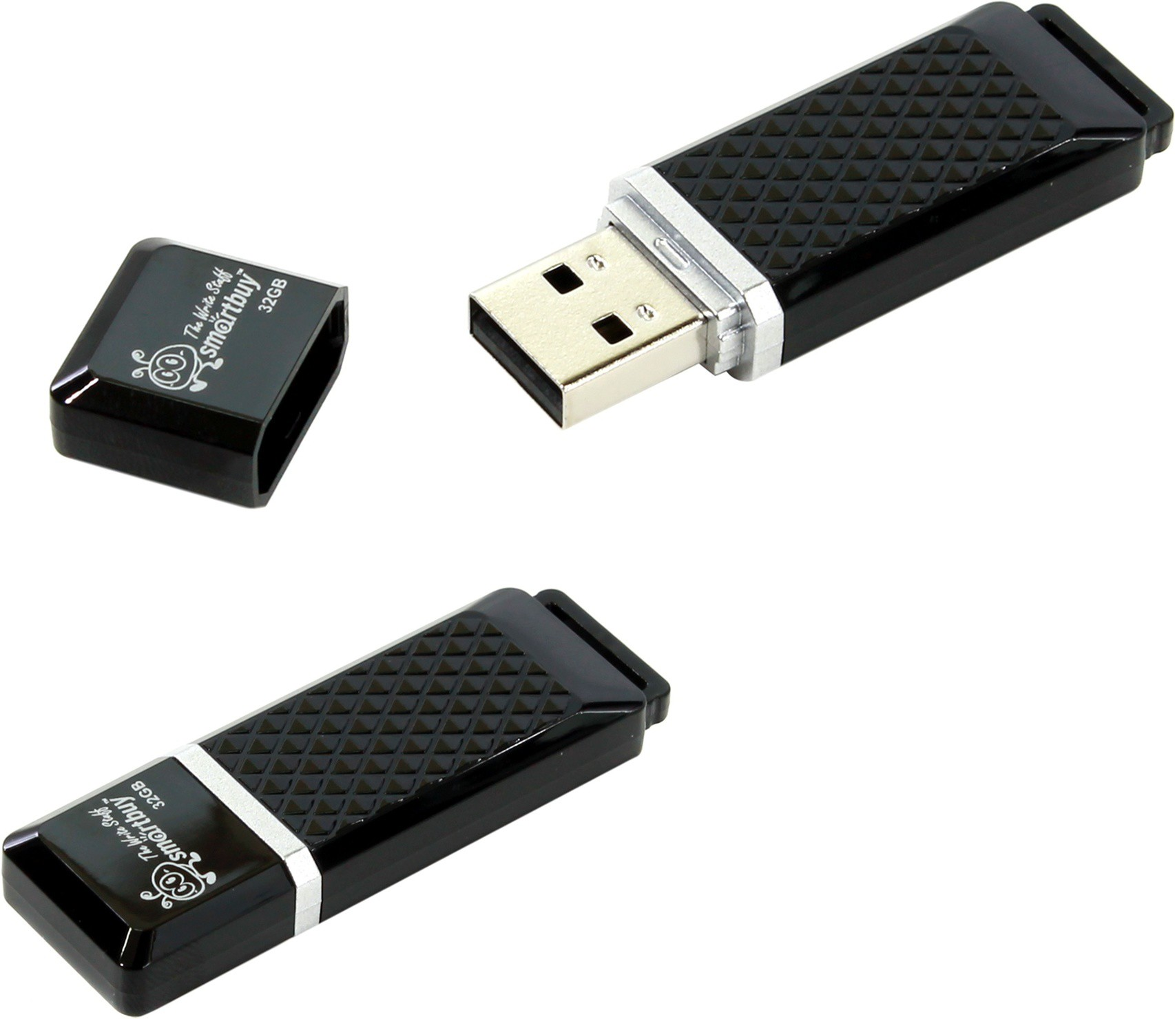 USB flash disk 32Gb Smart Buy Quartz 32GB (SB32GBQZ-K) Black (с колпачком, пластик, USB 2.0)