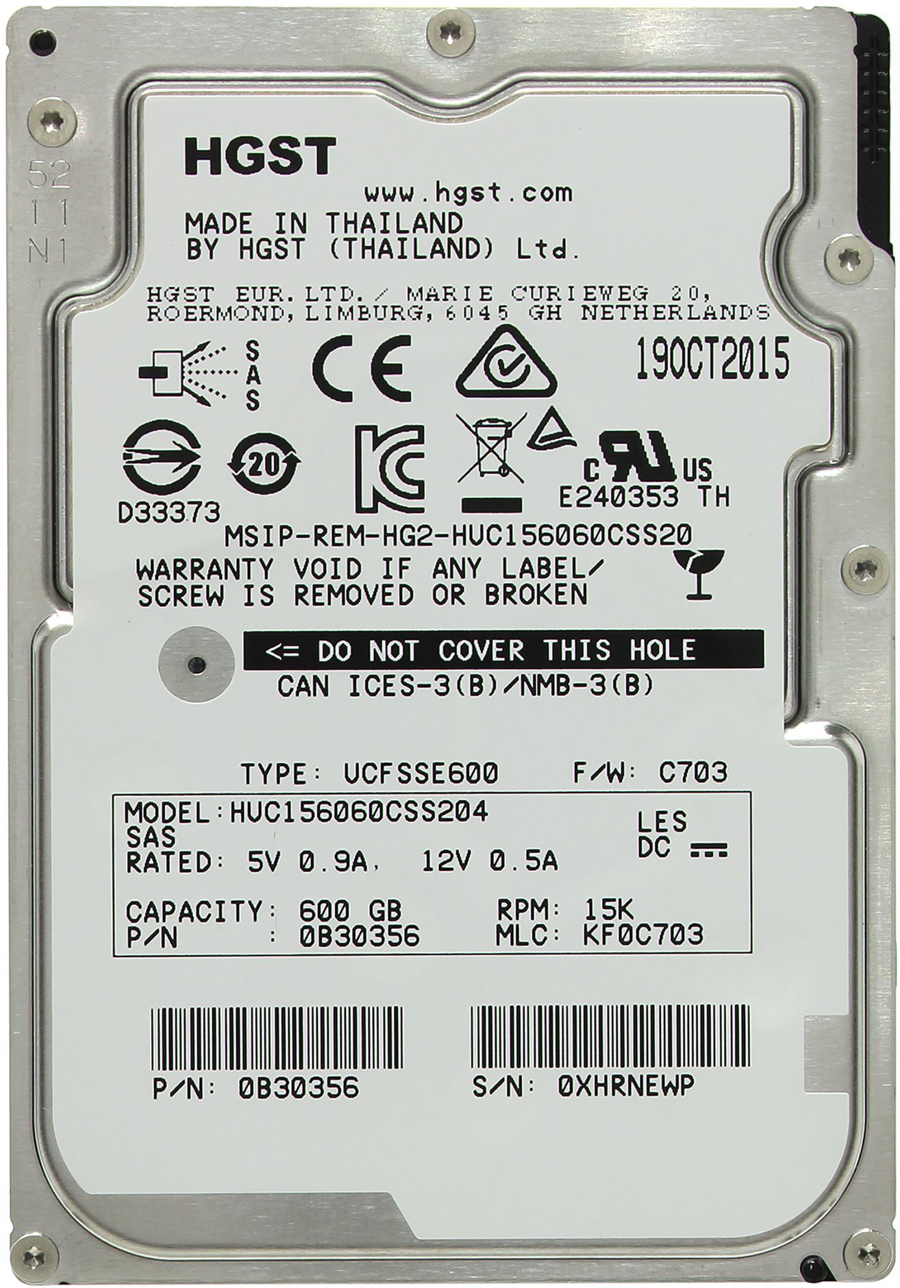 Жёсткий диск 600Gb Hitachi Ultrastar 15K600 (HUC156060CSS204) (SAS 2.0, 15000rpm, 128Mb)