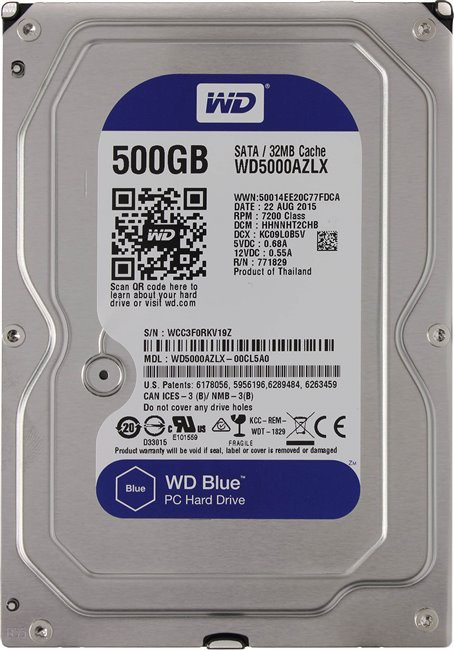 Жесткий диск 500Gb Western Digital Blue (WD5000AZLX) SATA3-600 7200rpm 32Mb