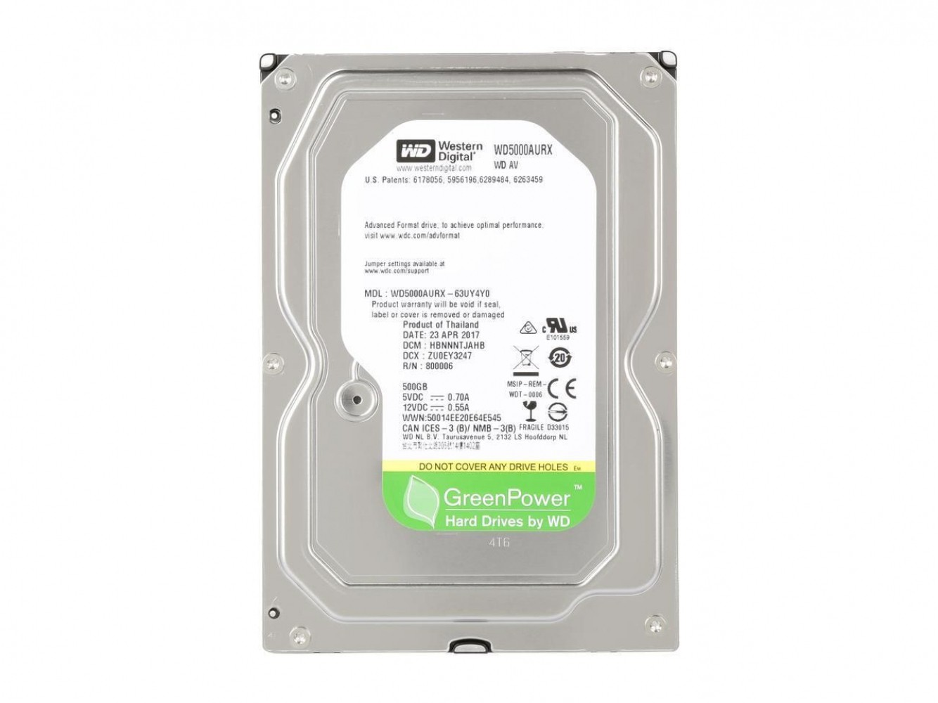 "Жесткий диск 500Gb Western Digital AV (WD5000AURX) (SATA 3.0 (6Gbps), 5400rpm, 64Mb, 3.5"")"