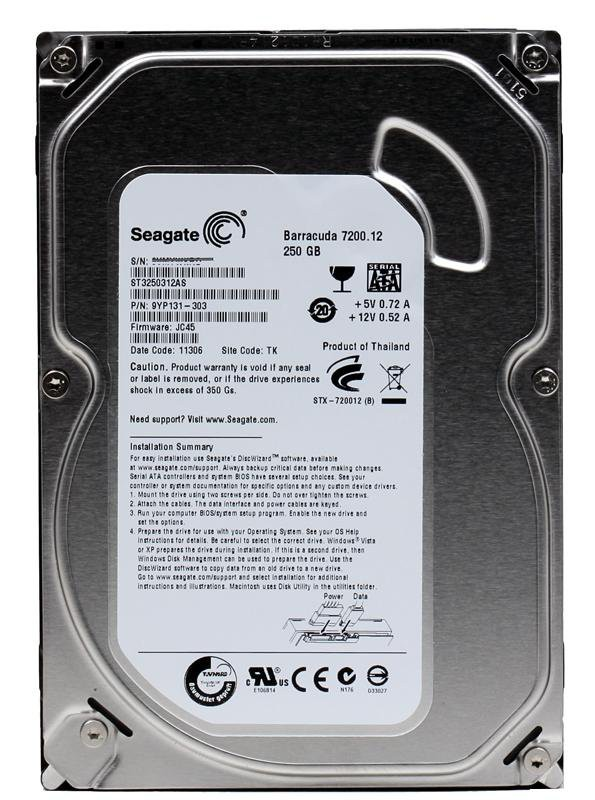 Жесткий диск 250Gb Seagate Barracuda 7200.12 ST3250312AS (SATA-3, 7200rpm, 8Mb)