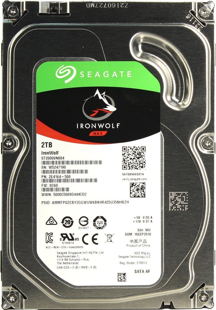 Жёсткий диск 2Tb Seagate IronWolf (ST2000VN004) (SATA-6Gb/s, 5900rpm, 64Mb)