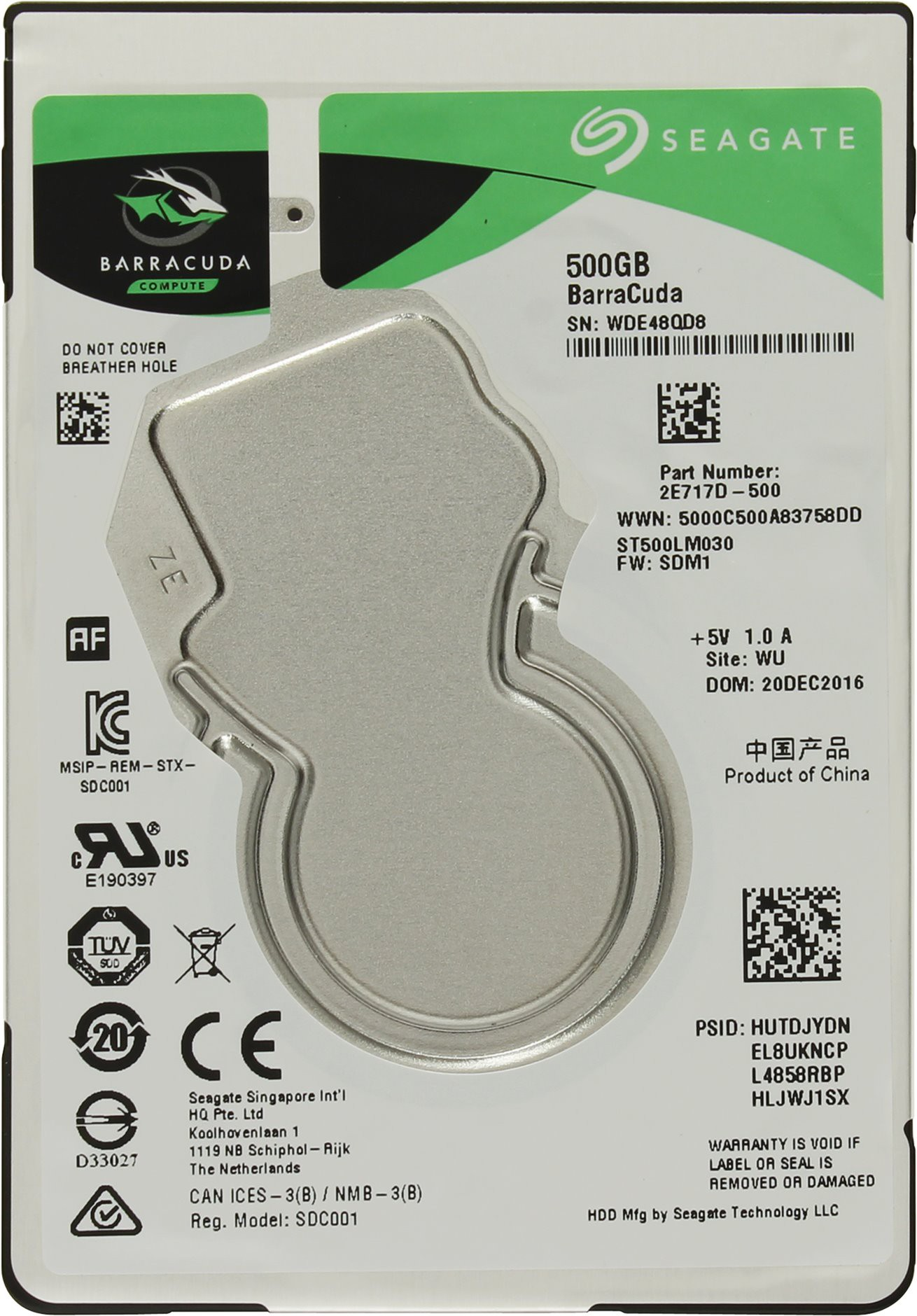 Жёсткий диск 500Gb Seagate Barracuda (ST500LM030) (SATA-6Gb/s, 5400rpm, 128Mb)