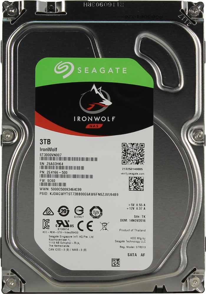 Жёсткий диск 3Tb Seagate IronWolf (ST3000VN007) (SATA-6Gb/s, 5900rpm, 64Mb)