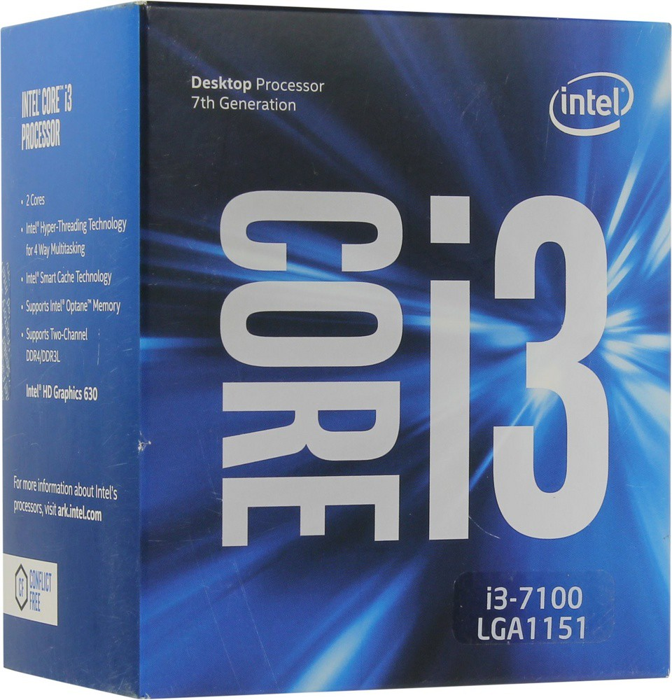 Процессор Intel Core i3-7100 (BOX) (3.9GHz, 2 core, 3Mb, HD Graphics 630, 51W) (Soc1151)