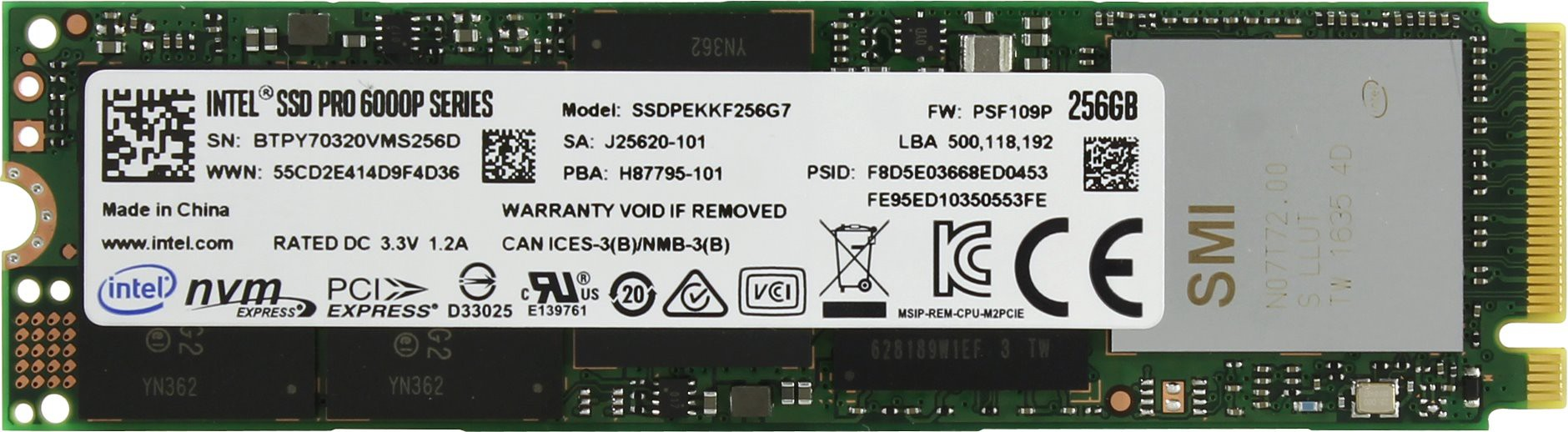 Жесткий диск SSD 256Gb Intel Pro 6000p Series SSDPEKKF256G7X1 (PCI-Express 3.0, M.2, 1570/540Мb/s)