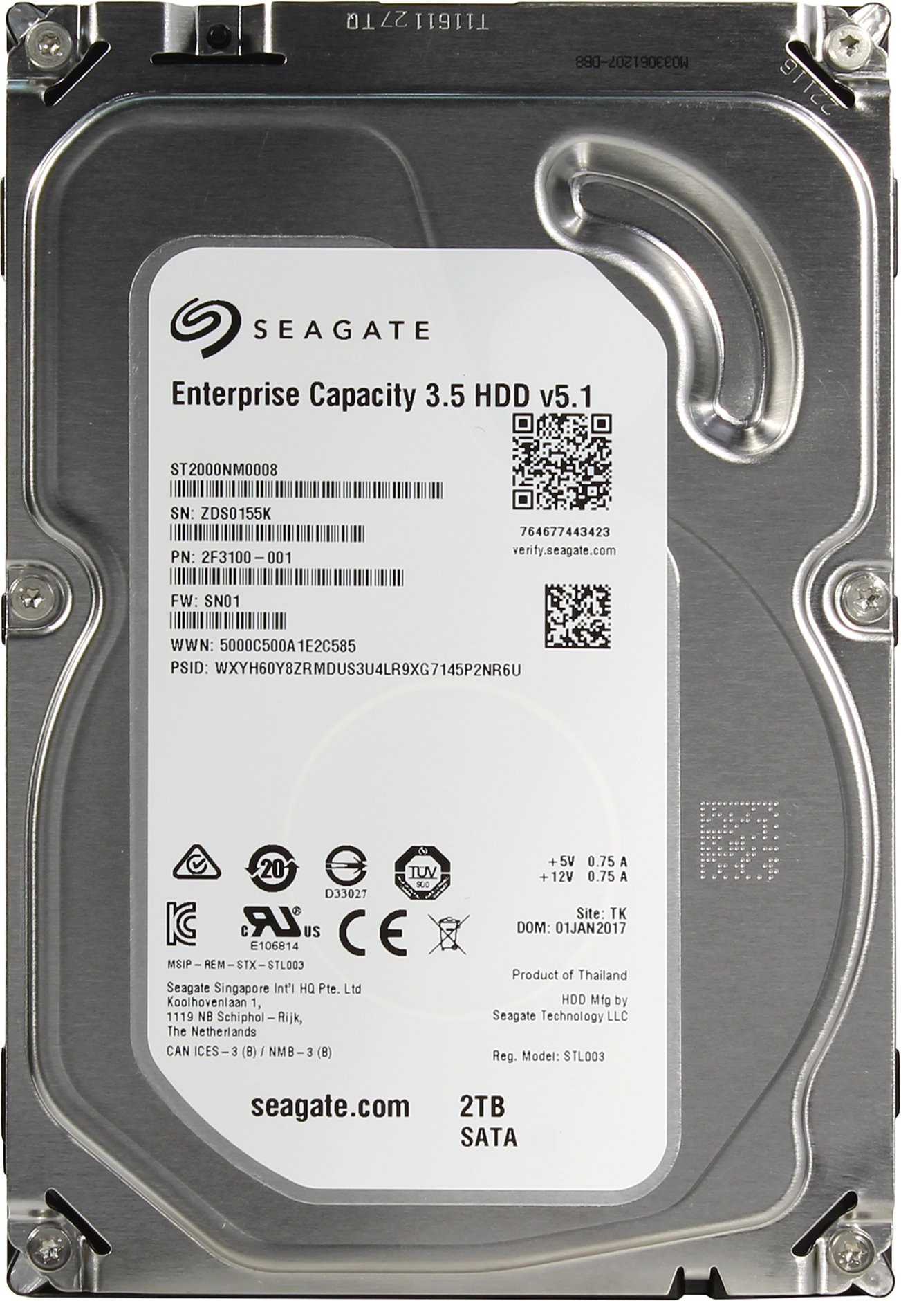 Жесткий диск 2Tb Seagate Enterprise Capacity (ST2000NM0008) (SATA-6Gb/s, 7200rpm, 128Mb)
