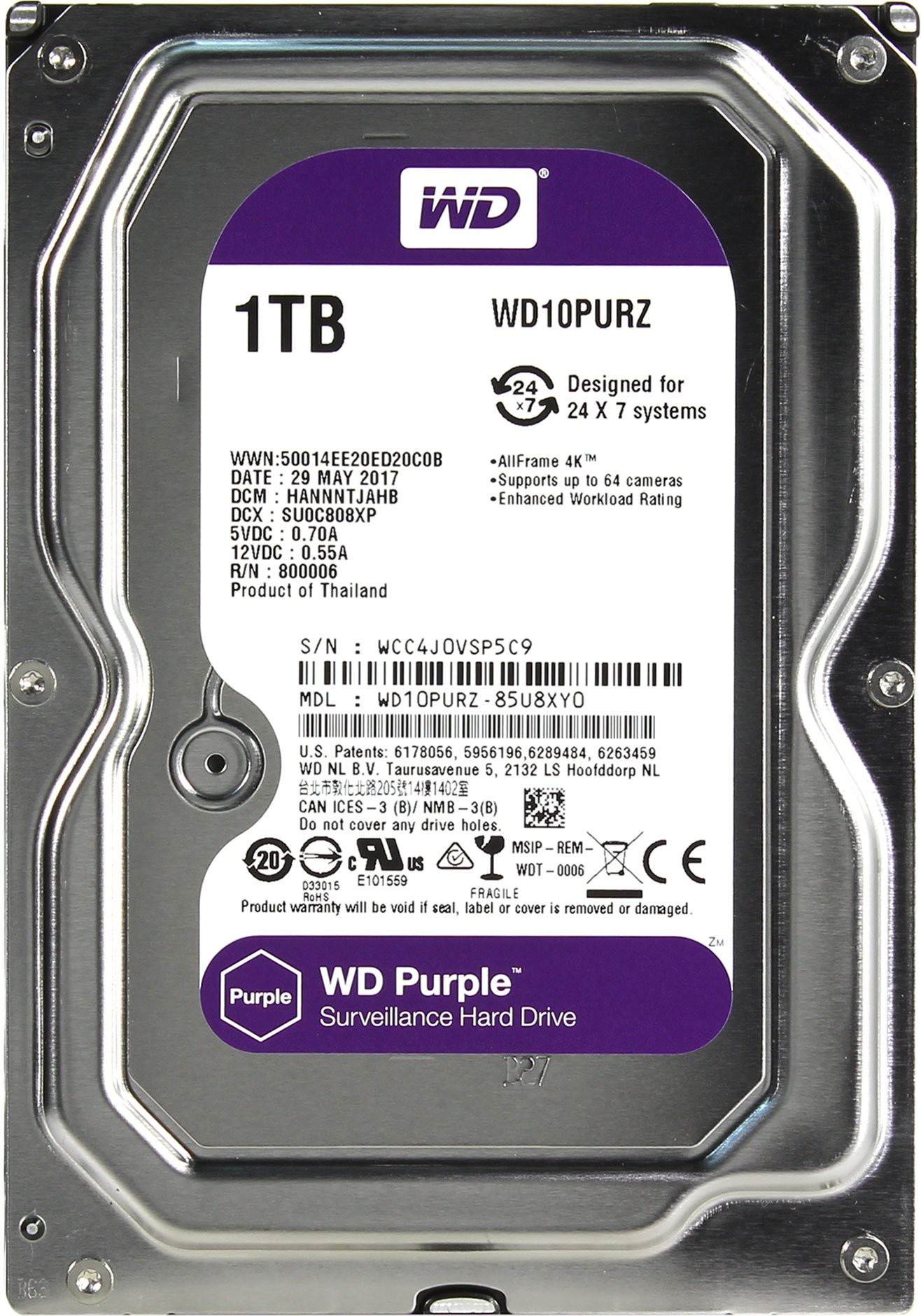 Жесткий диск 1Tb Western Digital WD10PURZ Purple (SATA-6Gb/s, 5400rpm, 64Мb)