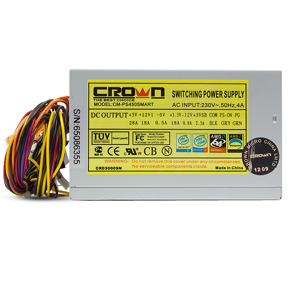 Блок питания 450W CROWN CM-PS 450 Standart Micro (120mm, 24+4pin, 3 Molex, 2 SATA)
