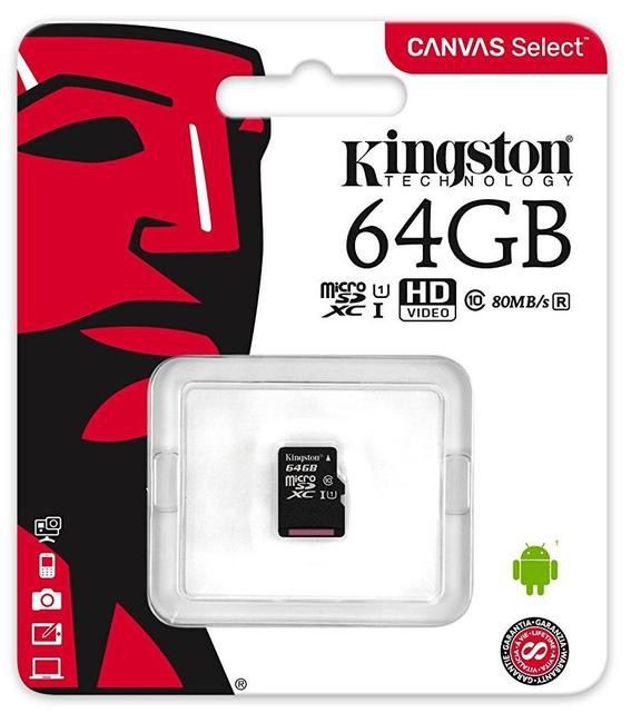 Карта памяти 64Gb Kingston Canvas Select (SDCS/64GBSP) microSDXC Class 10 UHS-I U1 80/10Mb/s