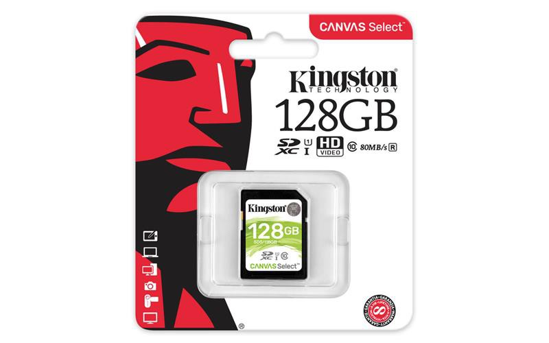 Карта памяти 128Gb Kingston Canvas Select (SDS/128GB) SDXC Class 10 UHS-I 80/10Mb/s
