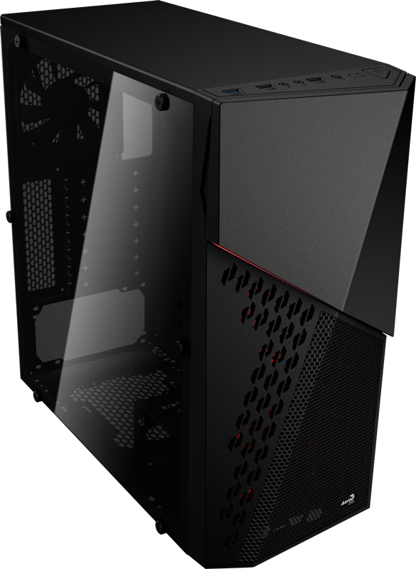 Корпус Aerocool CyberX Advance Black (Miditower, ATX, USB3, 3xFan, Window)