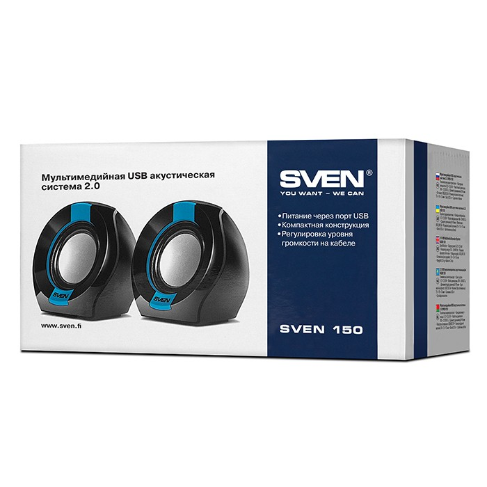Колонки 2.0 Sven 150 Black-Blue (2x2.5W) USB