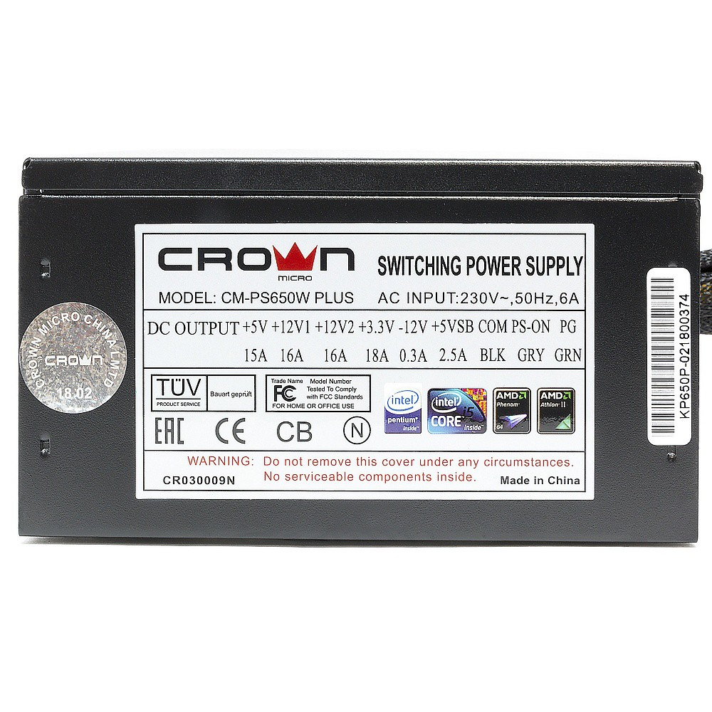 Блок питания 650W Crown CM-PS650W PLUS (140мм Red LED, 24+8pin, 1x6/8pin, 4xMolex, 4xSATA)