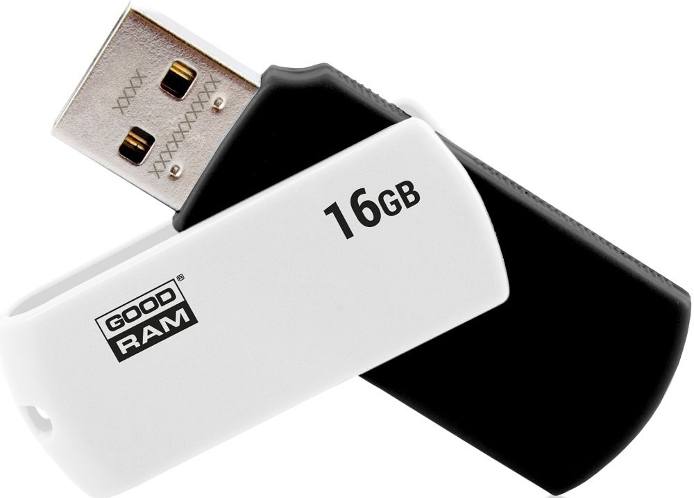 USB flash disk 16Gb Goodram UCO2 16Gb (UCO2-0160KWR11) Black/White (раскладной корпус, пластик, 20/5МB/s, USB 2.0)