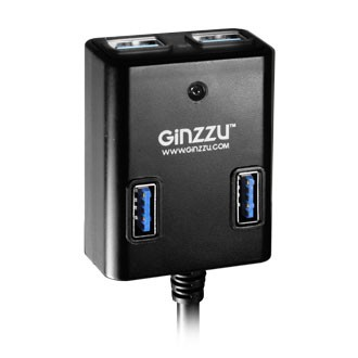 Разветвитель USB GINZZU GR-384UAB 4 port USB 3.0 + adapter