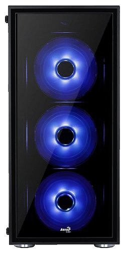 Корпус AeroCool Quartz Blue Black (Miditower, ATX, USB3, 4xFan, Window, синяя подсветка)