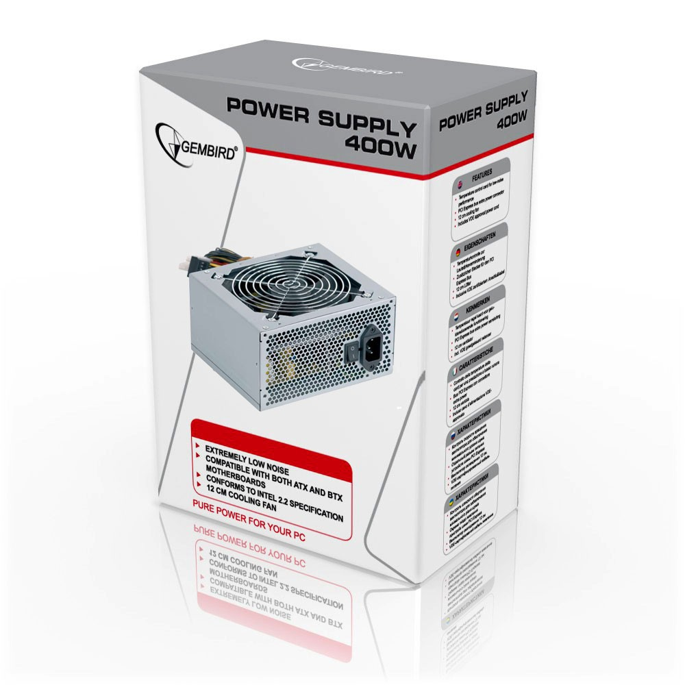 Блок питания 400W Gembird CCC-PSU4X-12 00-01 400W, activePFC, 12cm fan, Bronze series