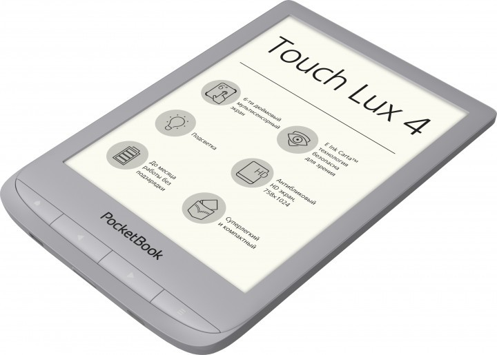 "Электронная книга PocketBook Touch Lux 4 MatteSilver (PB627-S-CIS) (серый, 6"", E-ink Carta, 1024x758, подсветка, 8Gb, WiFi, microSDHC)"