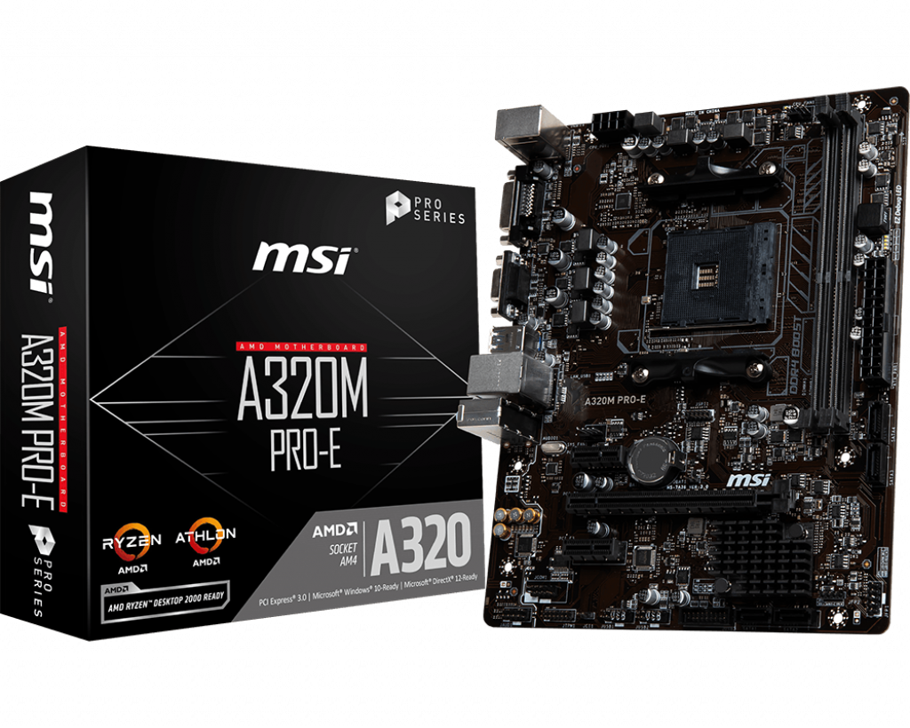Материнская плата MSI A320M PRO-E A320 2DDR4-3200 microATX (Socket AM4)