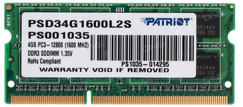 Оперативная память 4Gb Patriot Memory for Ultrabook PSD34G1600L2S 1600 PC-12800 1.35V CL11