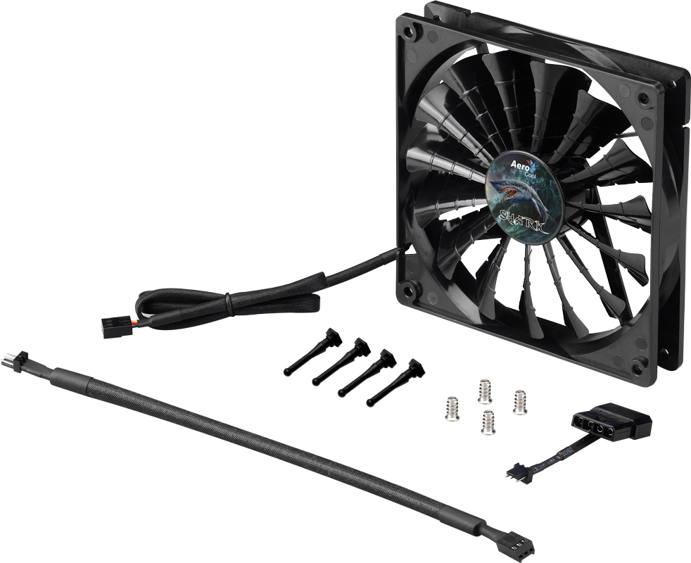 Вентилятор Aerocool Shark Black Edition 140mm (800-1500RPM, 14.5-29.6dBa, 50-96.5CFM, 3pin+Molex)
