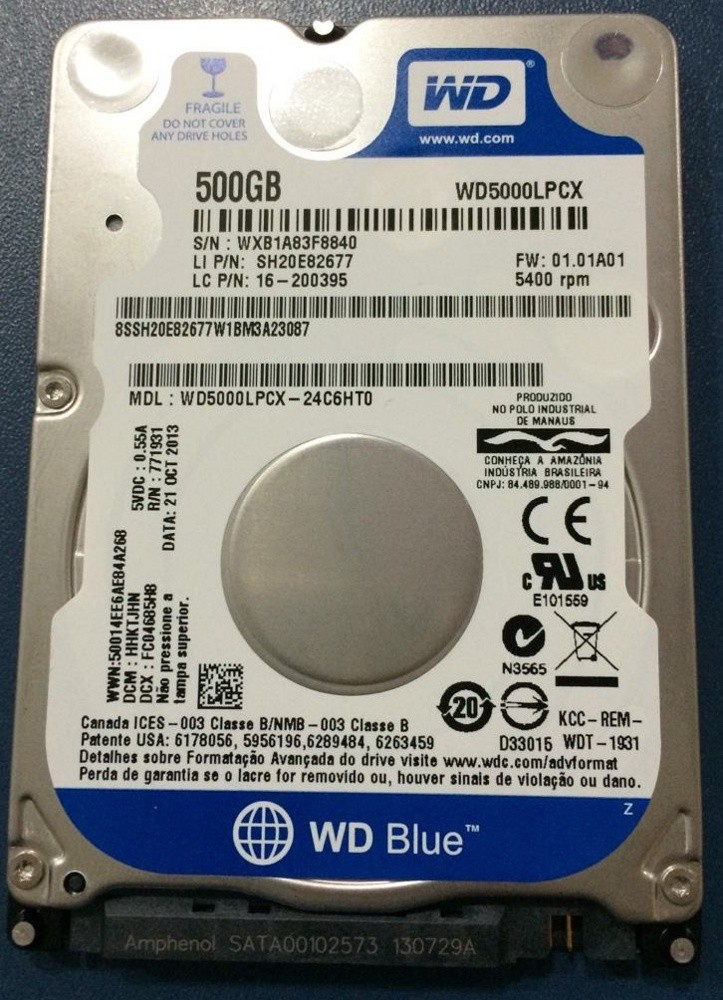 Жесткий диск 500Gb Western Digital WD5000LPCX Scorpio Blue (SATA-Gb/s, 5400rpm, 8Mb, 6.4mm)