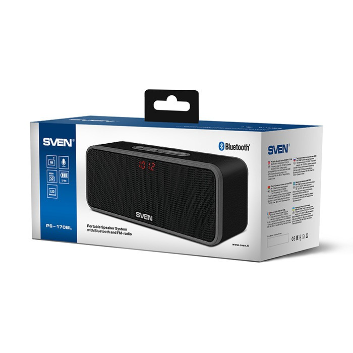 Колонки Sven PS-170BL Black (2.0, 2х5 Вт, FM, SD, Bluetooth)